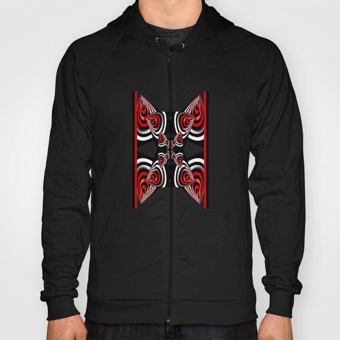 Design in black, red and white Hoody