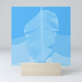 Tropical Banana Leave Pastel Blue Ombre Design Mini Art Print