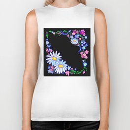 Abstract flowers frame Biker Tank
