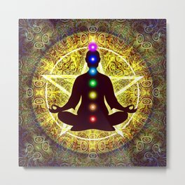 In Meditation With Chakras - Spiritual I Metal Print
