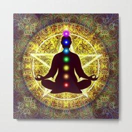 In Meditation With Chakras - Spiritual I Metal Print