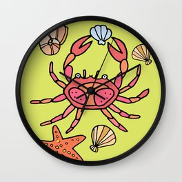 Summer crab Wall Clock