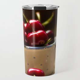 Red Cherries on the table Travel Mug