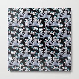 patterned with a leopard cub with its mother surrounded by the Chinese flower. Metal Print