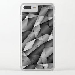 Exclusive monochrome pattern of chaotic black and white fragments of glass, metal and ice floes. Clear iPhone Case