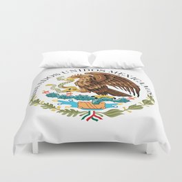 Coat of Arms & Seal  of Mexico on white Duvet Cover