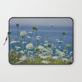 Flowers by the Beautiful Blue Sea Laptop Sleeve
