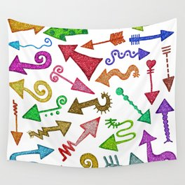 Glitter Arrow Doodles Wall Tapestry