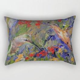 Hummingbirds, Abstract Art, Hummingbird Collage, Modern Art Rectangular Pillow