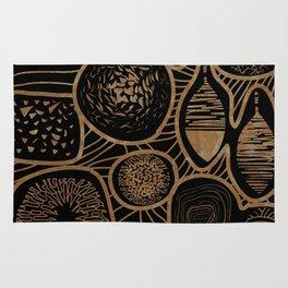 Vintage sepia pattern - linogravure style Rug