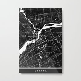 Ottawa - Minimalist City Map Metal Print