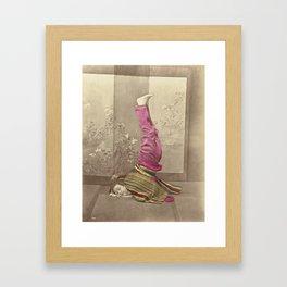 Japanese Woman Standing on her Head by Raimund von Stillfried Framed Art Print