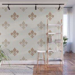 Fleur de lis Pattern – Neutral Brown and Biege Earth Tones Wall Mural