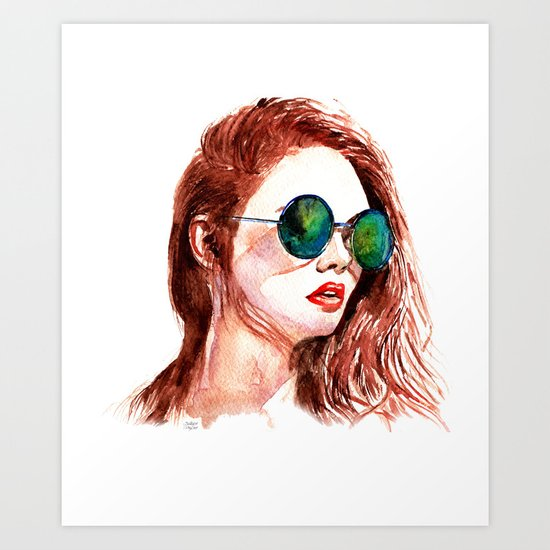 Attitude -watercolor portrait Art Print