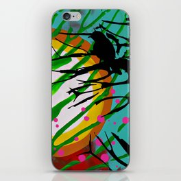 Birds Chatting: 2 birds on a branch chatting about the sun rise / sunset iPhone Skin