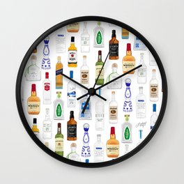 Tequila, Whiskey, Vodka Bottles Illustration Wall Clock