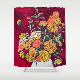 Marigold, Daisy and Wildflower Bouquet Fall Floral Still Life Painting on Eggplant Purple Shower Curtain