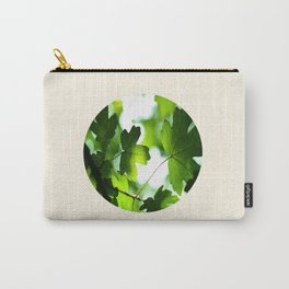 Green Baby Maple Leaves Round Photo Carry-All Pouch