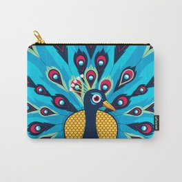 Peacock Blue Bird Beautiful Background Carry-All Pouch