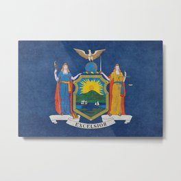 New York State Flag, vintage retro style Metal Print