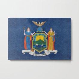 New York State Flag, vintage retro style Metal Print