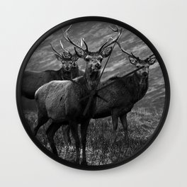 The four stags on the loch b/w Wall Clock