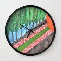 religious Wall Clocks featuring Ten Religious Abstract Art By Saribelle Rodriguez by Saribelle Inspirational Art