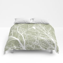 White Bird in White Tree - Moss A593 Comforters
