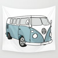 vw Wall Tapestries featuring VW Camper by 1and9