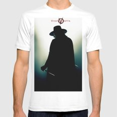 V for Vendetta (e4) MEDIUM White Mens Fitted Tee