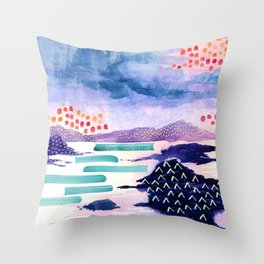 Balmaha Scottish Colourful Watercolour Painting Throw Pillow