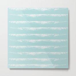 Irregular Stripes Mint Metal Print
