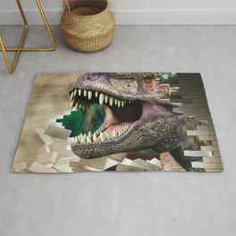 Destroying dinosaur Rug