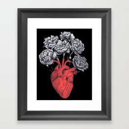 Heart with peonies on black Framed Art Print