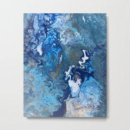 Undercurrent - Blue Wavy Ocean Abstract Fluid Art Metal Print