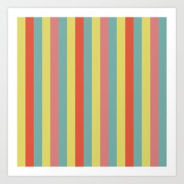 Vertical tropical paradise stripes sunny turquoise lines Art Print