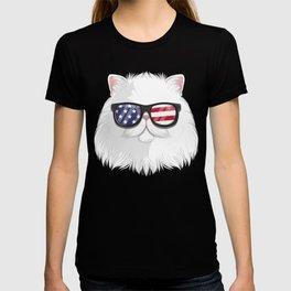 Patriotic Persian Cat Kitty Merica American Flag T-shirt