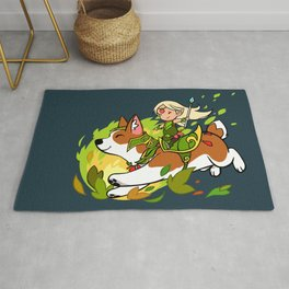 Corgi and Fairy Rug