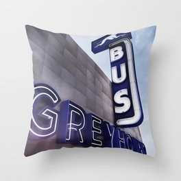 GREYHOUND BUS STATION COLOR Throw Pillow