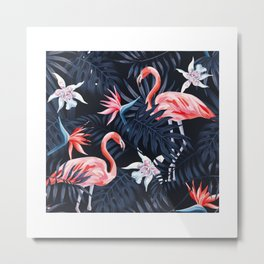 Tropical birds pink flamingo exotic flowers bird of paradise dark blue palm leaves black background seamless t-shirt Metal Print