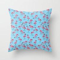flamingos Throw Pillows featuring Flamingos by WanderingBert / David Creighton-Pester