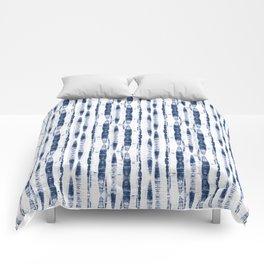 Shibori Stripes 2 Indigo Blue Comforters