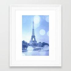 Paris Eiffel Tower Blue Framed Art Print