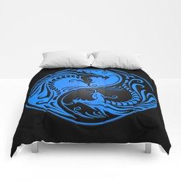 Blue and Black Yin Yang Dragons Comforters