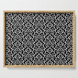 Art Nouveau Pattern Black And White Serving Tray