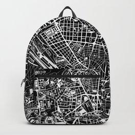 Madrid city map black&white Backpack