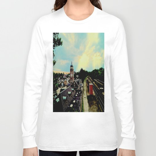 Waiting for a Train In Greensburg Long Sleeve T-shirt