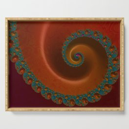 Turquoise and Orange Swirl Serving Tray