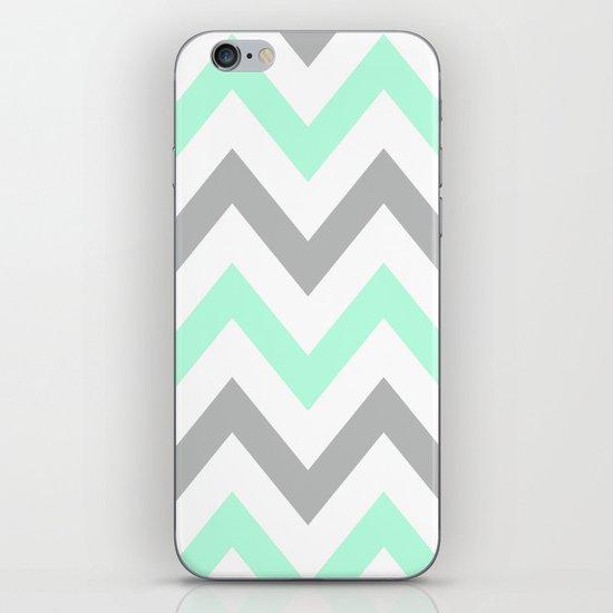 MINT & GRAY CHEVRON iPhone & iPod Skin