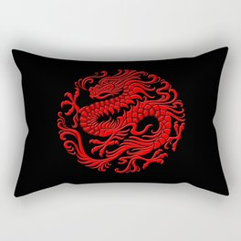 Traditional Red Chinese Dragon Circle Rectangular Pillow
